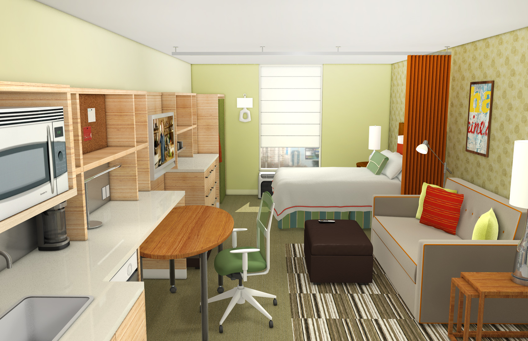 Home2 Guest Room Render